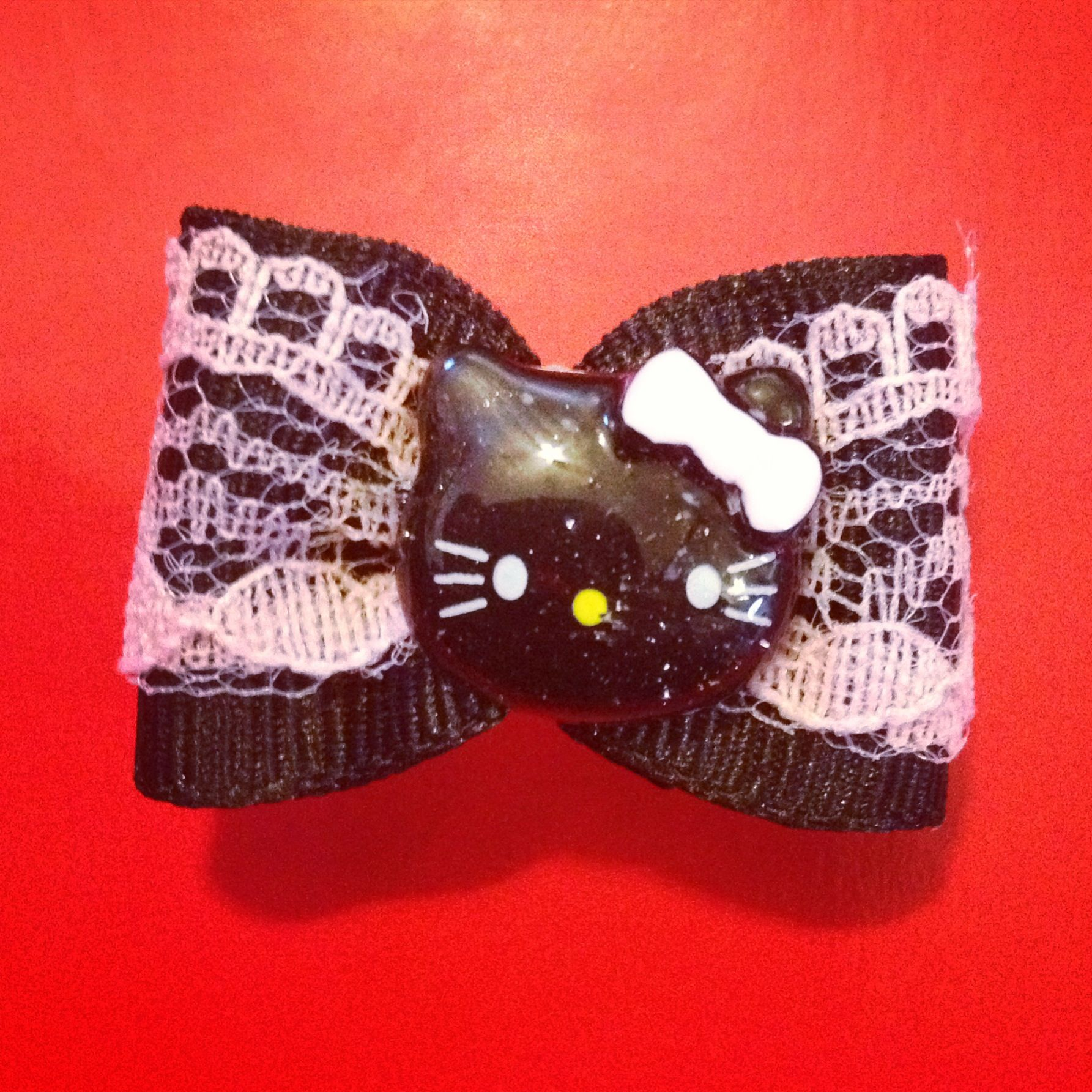 Hair bow button accessories - Black Hk Button On Black With Baby Pink Lace Hair Bow