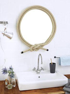 Maritime Wohnaccessoires maritime deko ideen spiegel und türstopper mit tau