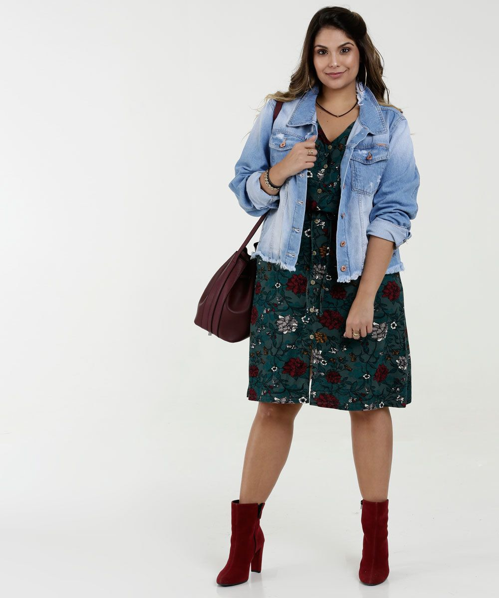 de8f8bc4c53264 Jaqueta Feminina Jeans Destroyed Plus Size Razon in 2019 | I'm ...