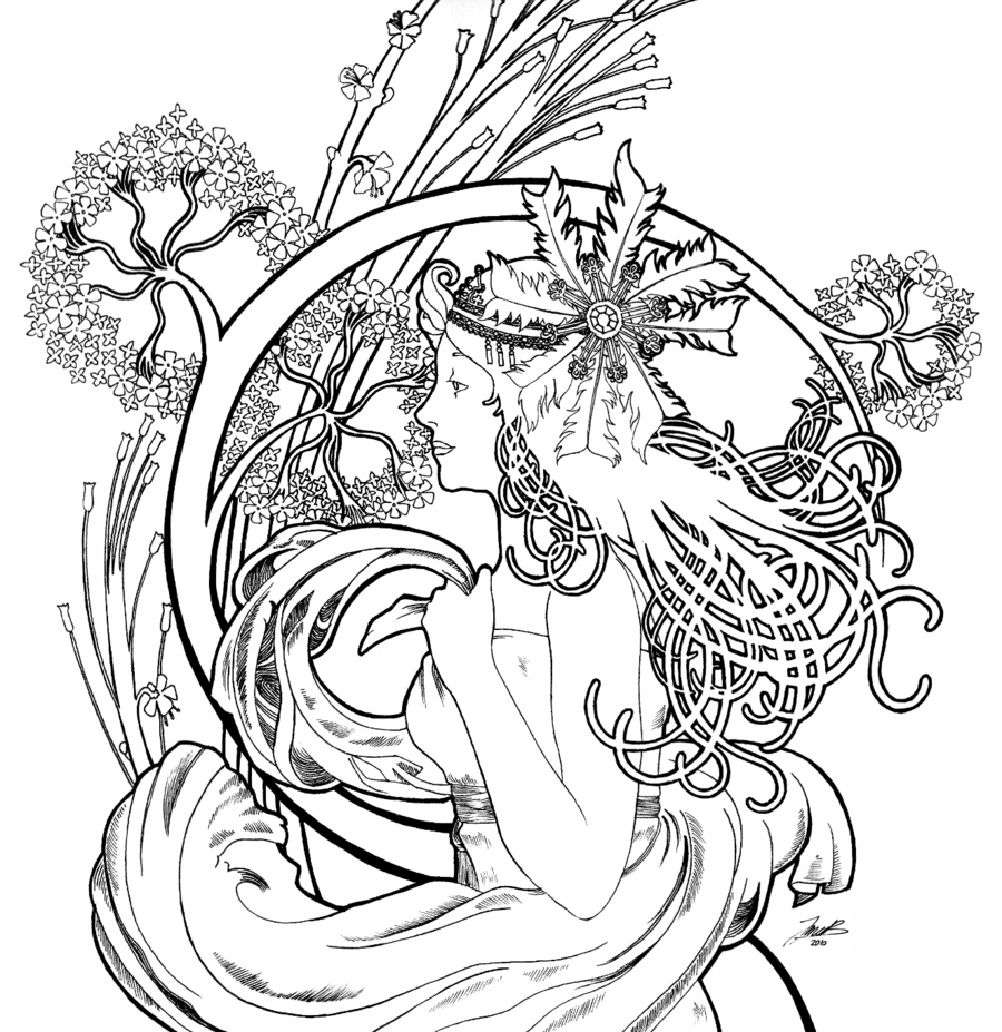 Alphonse Mucha Coloring Pages Alphonse mucha line art | Drawing and ...