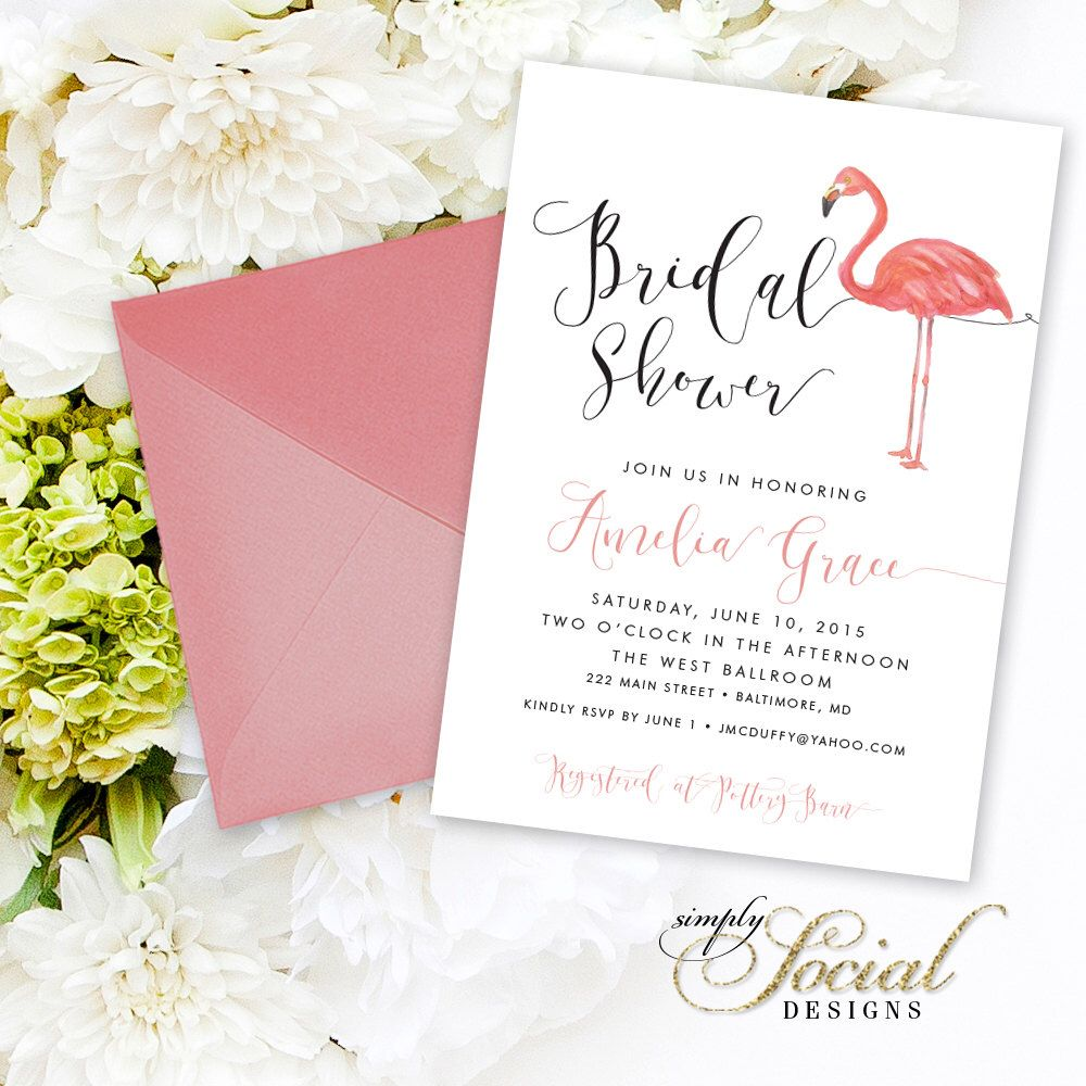 Flamingo Bridal Shower Invitation - Watercolor Flamingo and ...