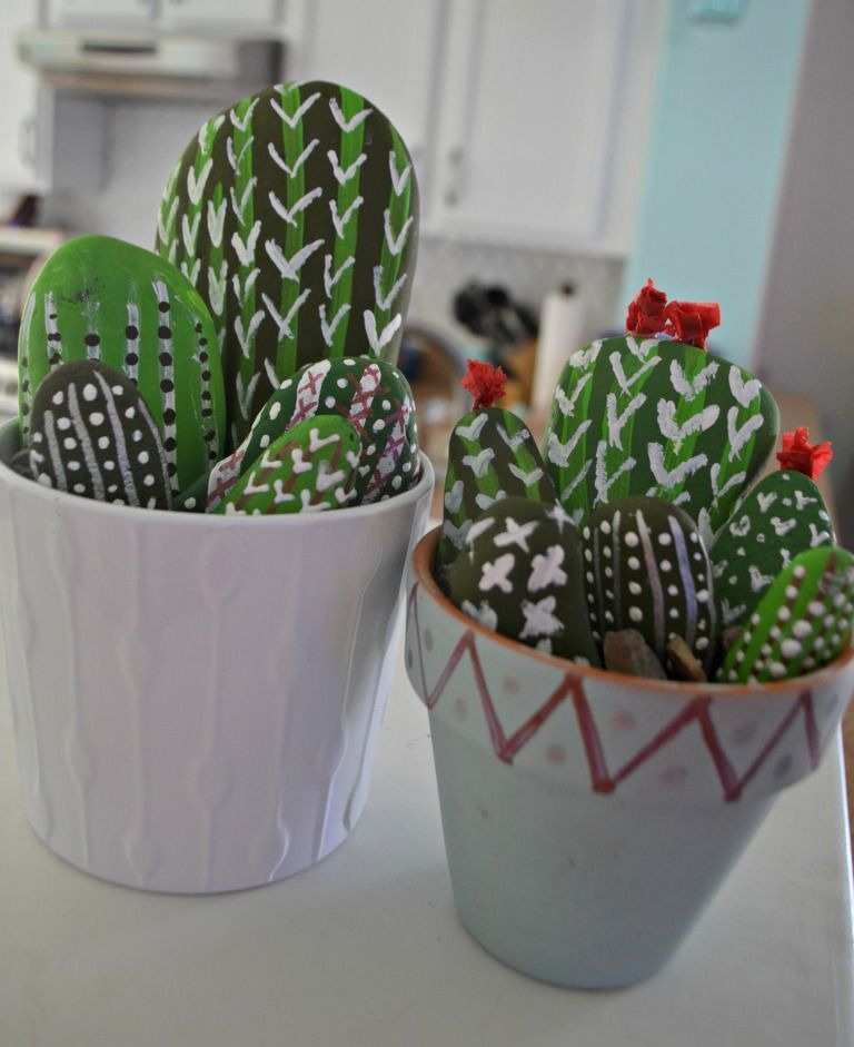 Make this DIY Rock Cactus Garden Craft! (Fun for All Ages is part of garden Crafts Rocks - If you like painting, collect some rocks and try this inexpensive and adorable craft idea of painting a rock cacti garden!