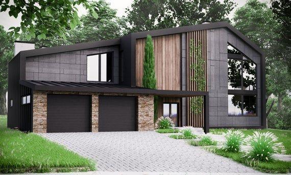 Modern House Plan Building Plans Blueprints Material List 2018 306 M 2 In 2020 Modern House Plan Modern House Exterior Architecture House