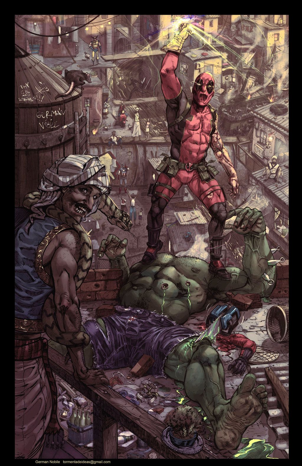 #Deadpool #Fan #Art. (Deadpool Kills The Hulk) By: German Nobile. (THE * 3 * STÅR * ÅWARD OF: AW YEAH, IT'S MAJOR ÅWESOMENESS!!!™) [THANK U 4 PINNING!!!<·><]<©>ÅÅÅ+(OB4E)