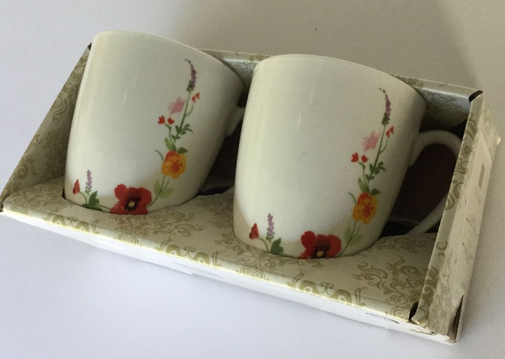 Roscher Bone China Mugs Coffee Tea White with Multi Color Flower NEW ...