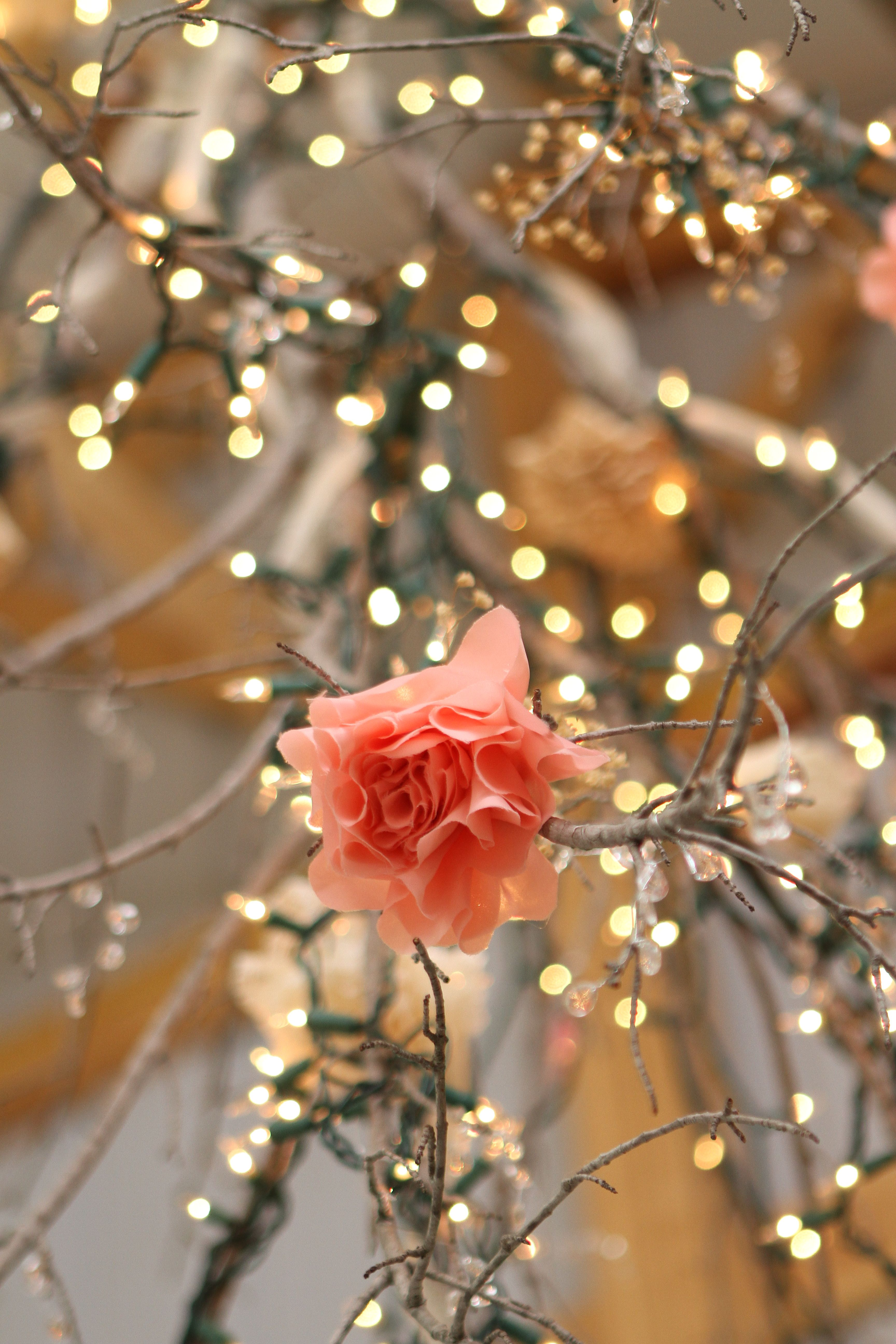 Wedding Decoration Pink Flower Branches Fairy Lights