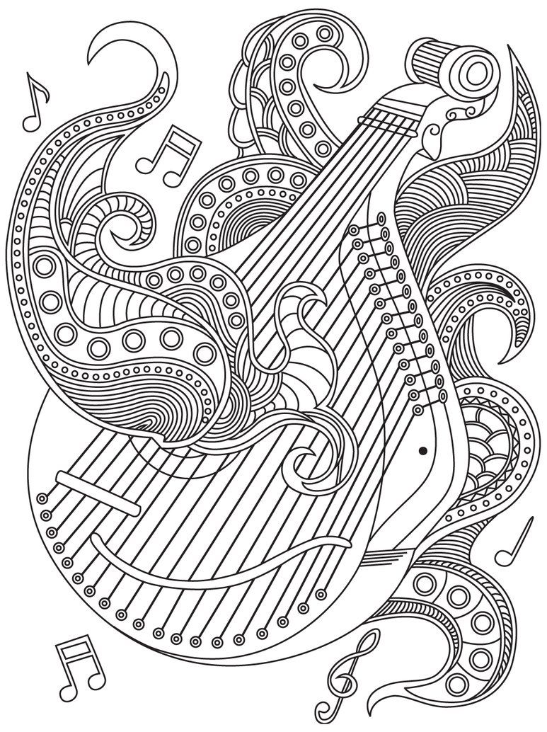 It's just an image of Superb Musical Coloring Page