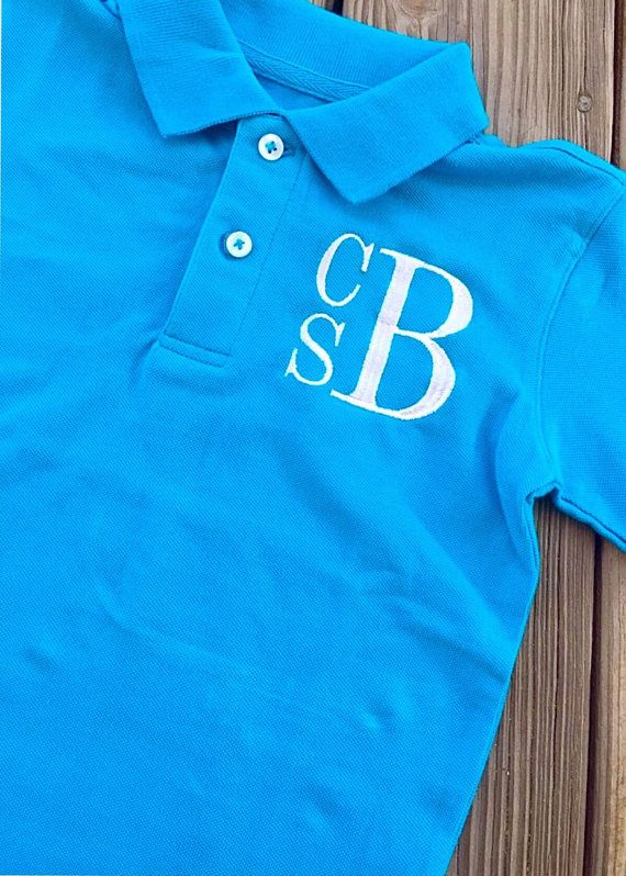 Boys Monogrammed Polo Short Sleeve Shirt Stacked Font Monogram Me