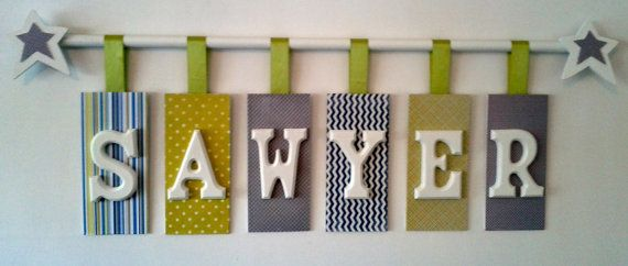 Letters To Hang On Wall custom hanging wooden letters with rod-personalized name-nursery