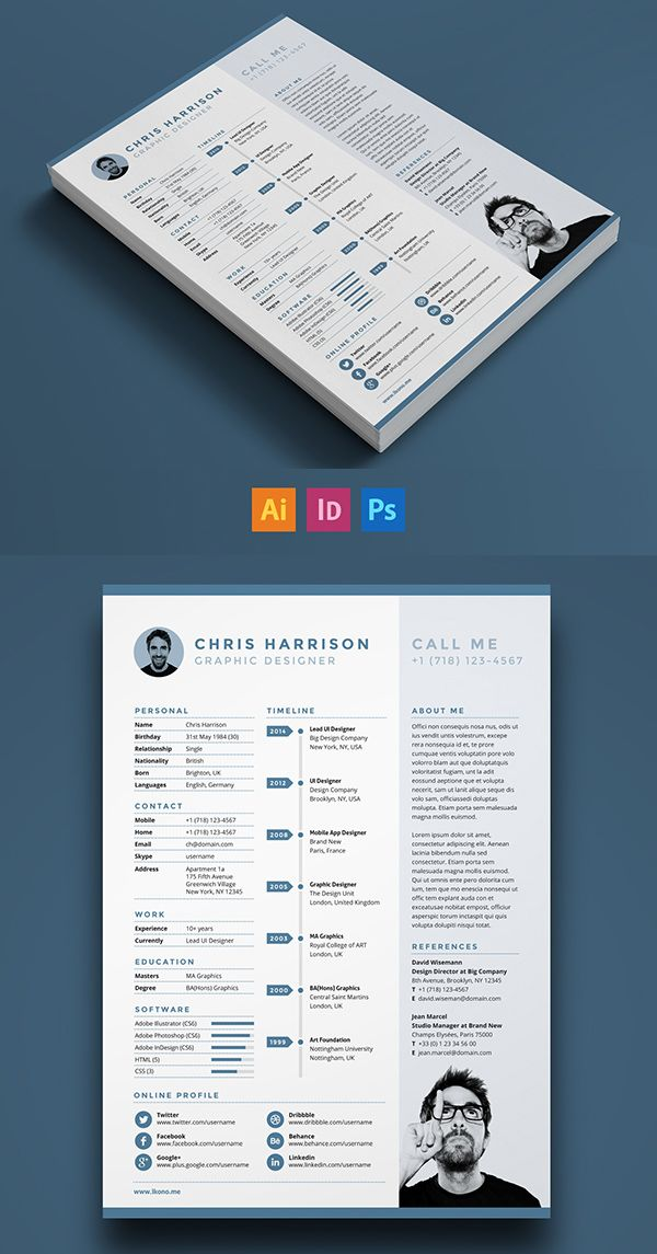 Free Modern Resume Templates \ PSD Mockups Freebies Graphic - single page resume