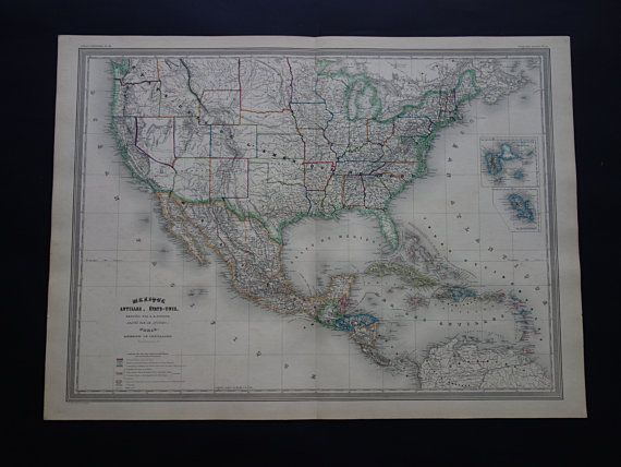 USA Antique Map LARGE Beautiful Hand Colored Original Old - Big map of us poster