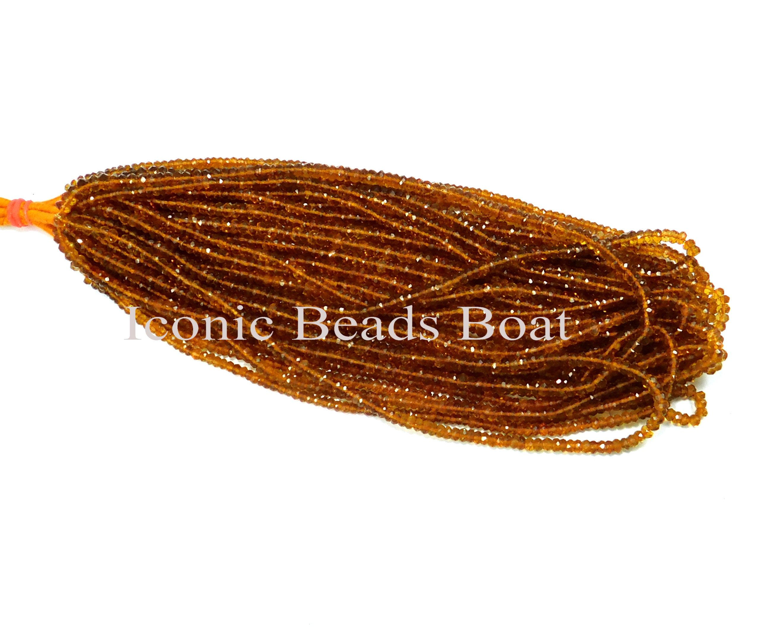 5.50mm-7.50mm Rondelle Faceted Citrine beads Full Strand 08 Inch Natural Citrine Gemstone A+ Quality