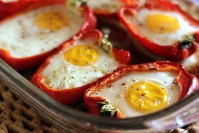 Ovos assados no pimentão