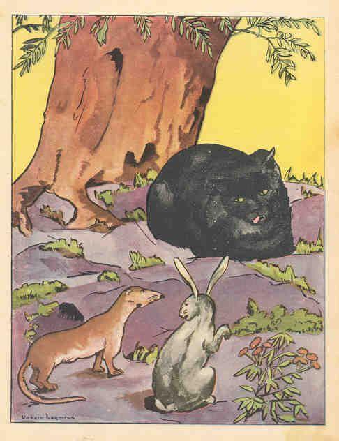 Le Chat, La Belette Et Le Petit Lapin : chat,, belette, petit, lapin, Chat,, Belette, Petit, Lapin, Maurice, Berty, Animal, Illustration,, Vintage