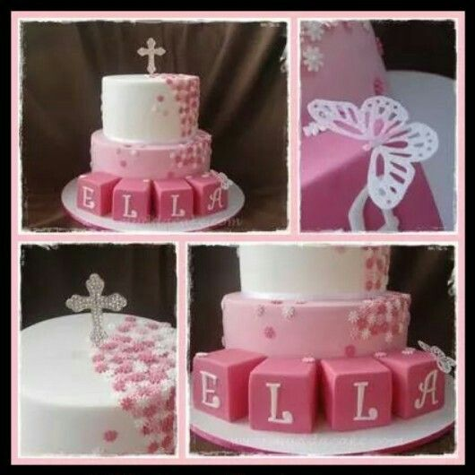 Butterfly christening cake by Mudda Cake