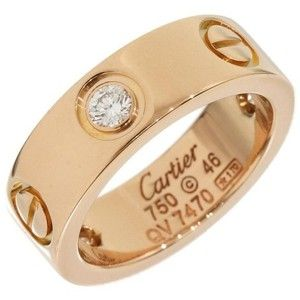 preowned cartier 18k rose gold half diamonds love ring size 375