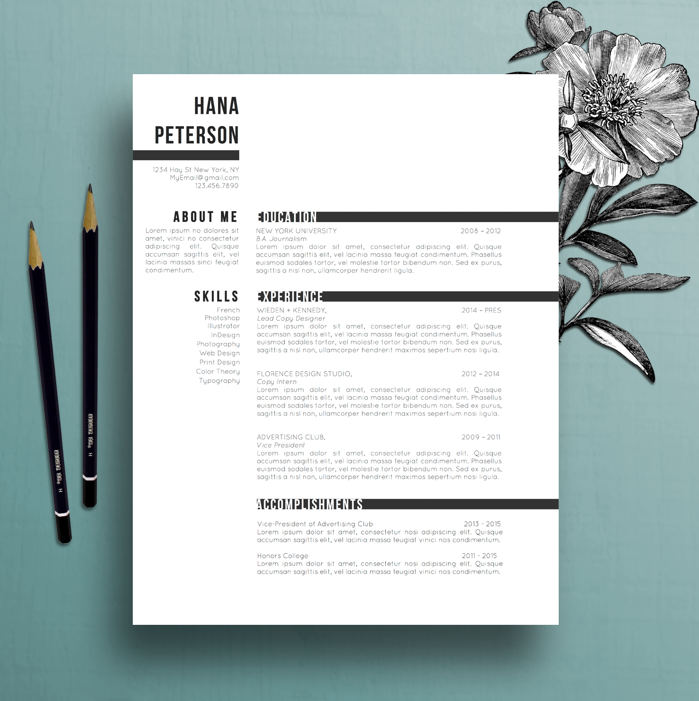 floral cv template creative floral border and bullets professional resume template cover letter template references template ms word creative resume