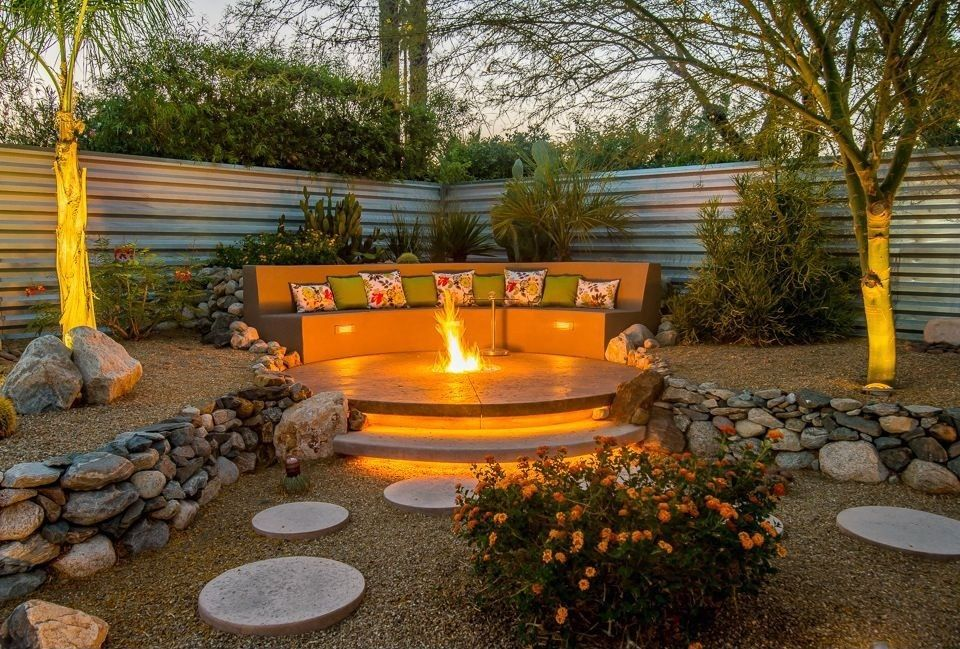 High Quality Contemporary Landscape/Yard With Oriflamme Sahara Fire Table, 16 In. X 16 In