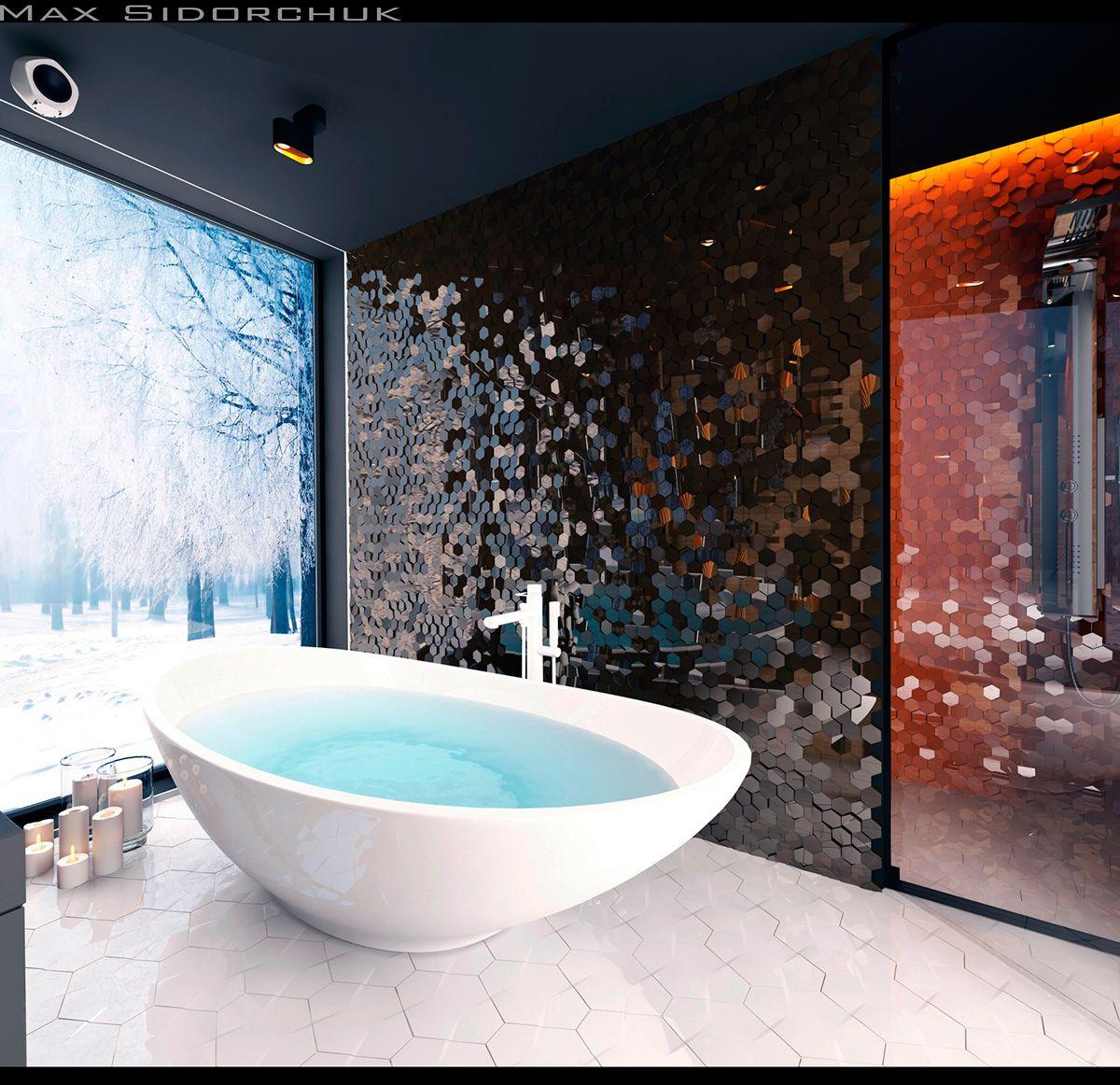 bathroom on Behance | Baños, Disenos de unas, Interiores
