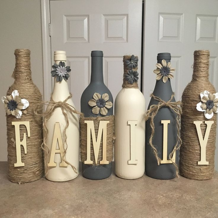 Wine bottle decor Hand painted-family-Custom decorated wine bottles-cream and grey in color Wine bottle decor Hand painted-family-Custom decorated wine bottles-cream and grey in color