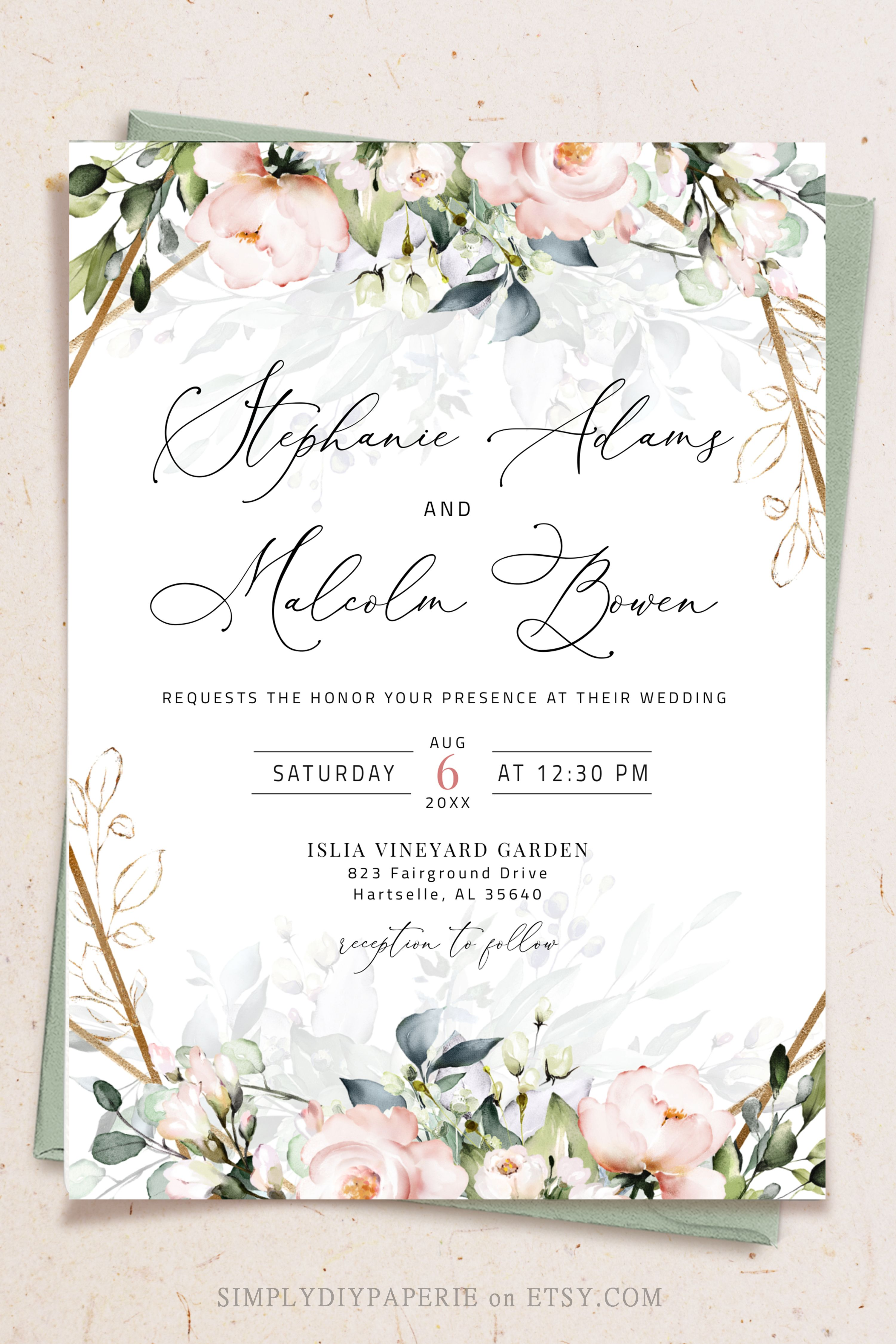 Blush Gold Wedding Invitation Template Printable Rustic Etsy Free Printable Wedding Invitations Wedding Invitation Card Design Wedding Invitation Templates
