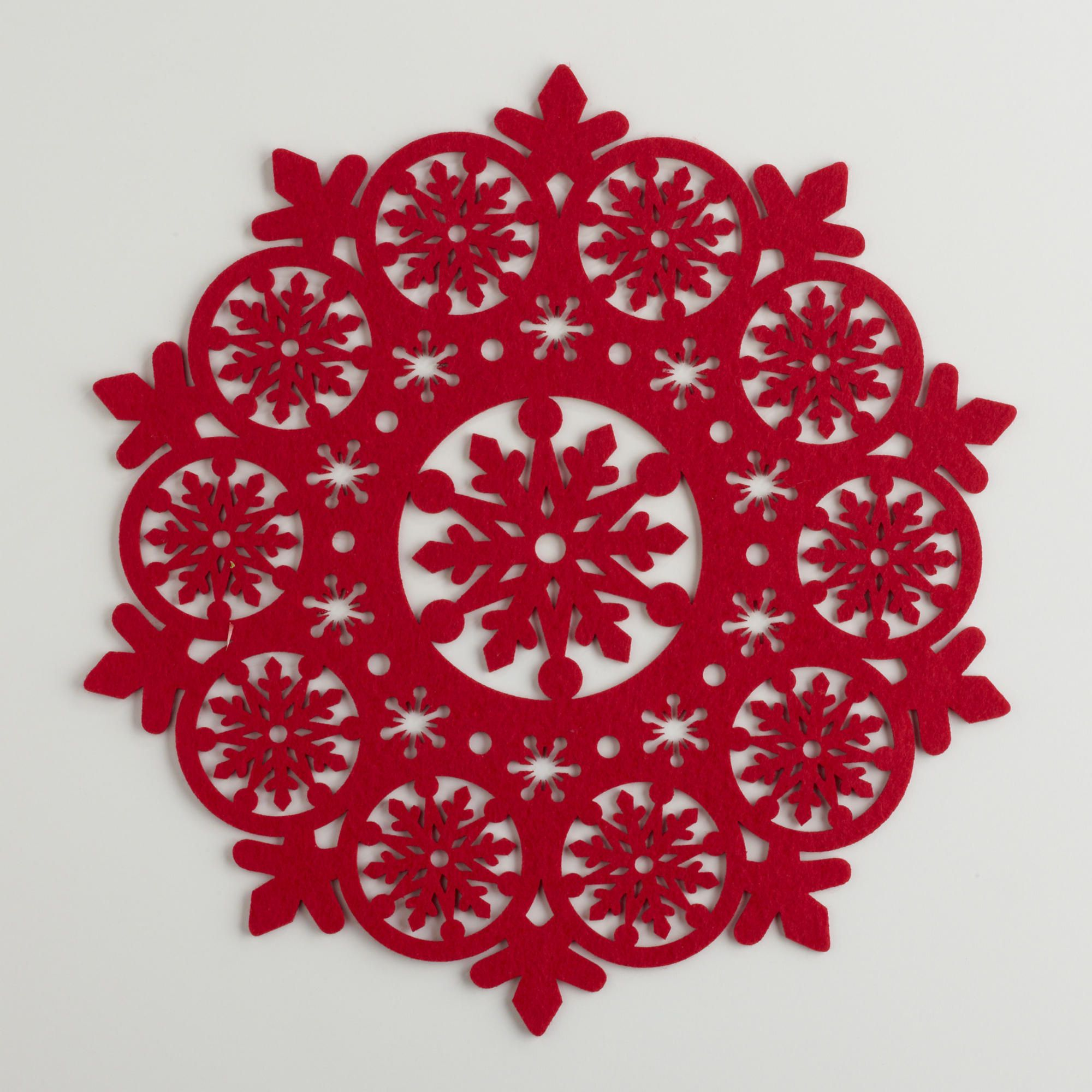 Red Felt Snowflake Placemats, Set of 4 | Red felt, Felting and ...
