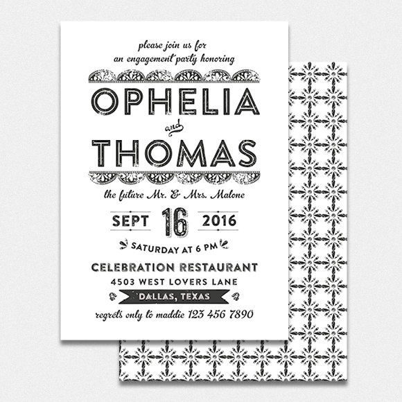 Engagement party invitation printable by bonjourpapershop