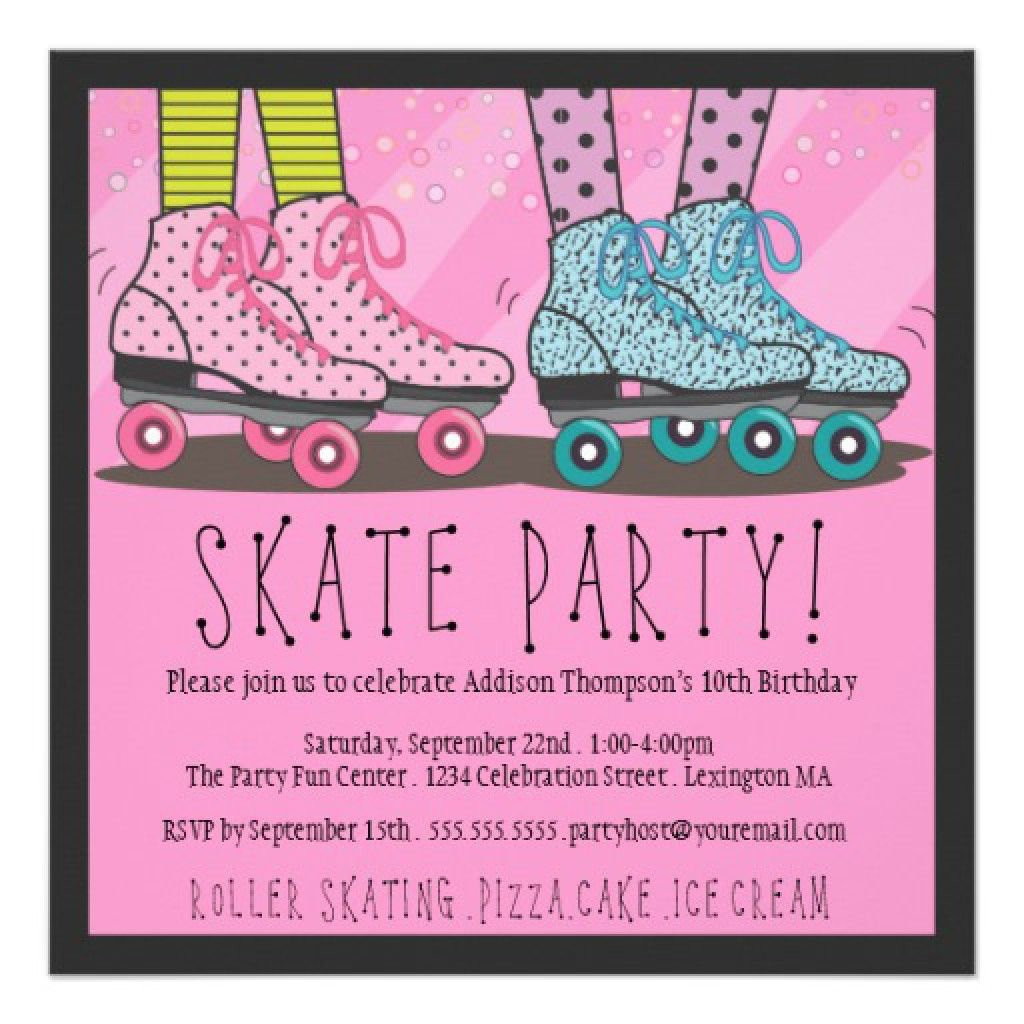 Free Roller Skate Invitation Template | For the kids | Pinterest ...
