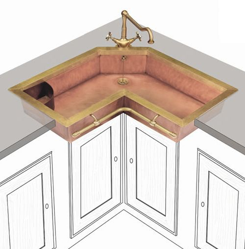 Brass Sinks That Bring About An Old World Charm  Corner Sink Prepossessing Corner Sink Kitchen Design Ideas