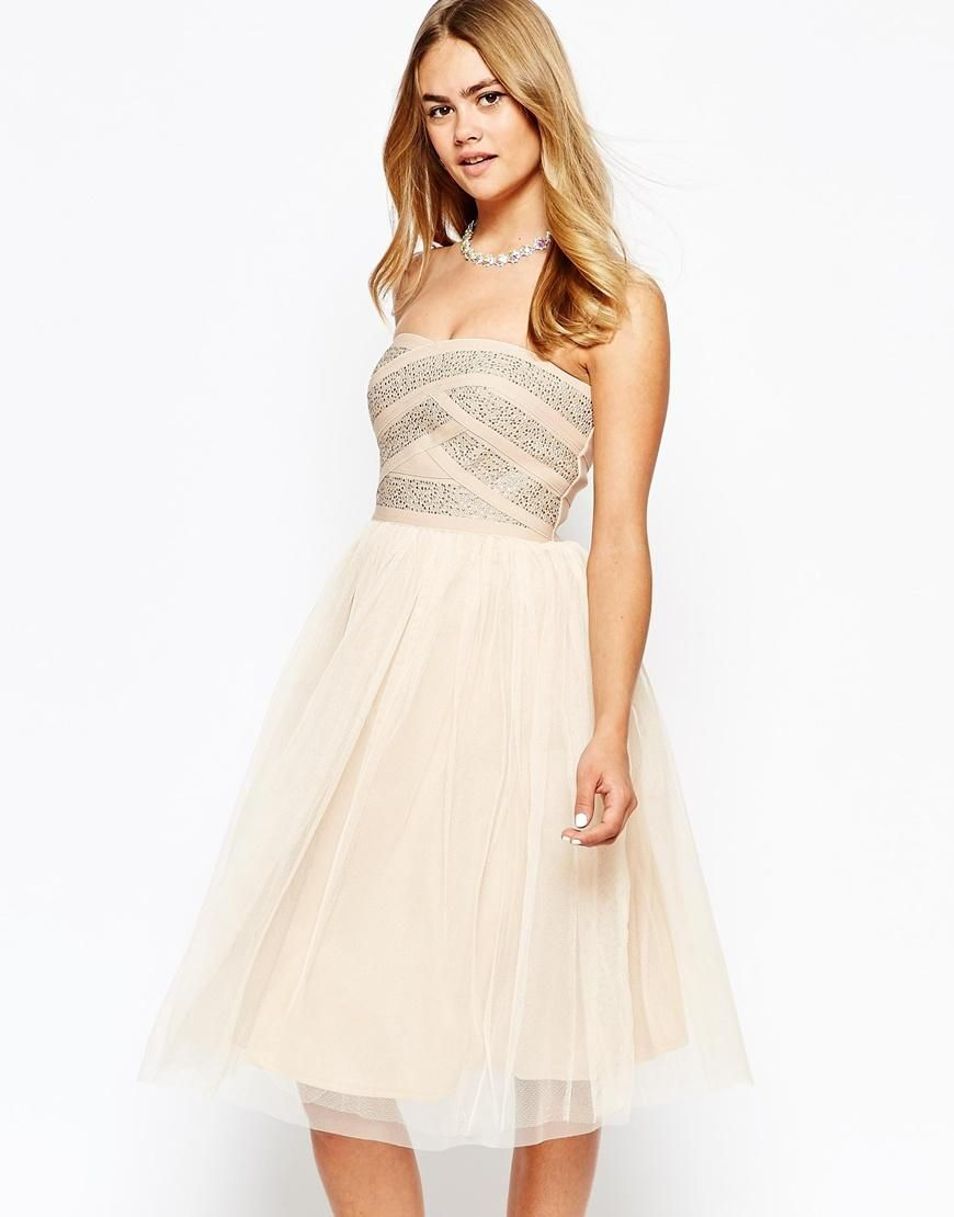 River island river island strapless embellished tulle prom dress