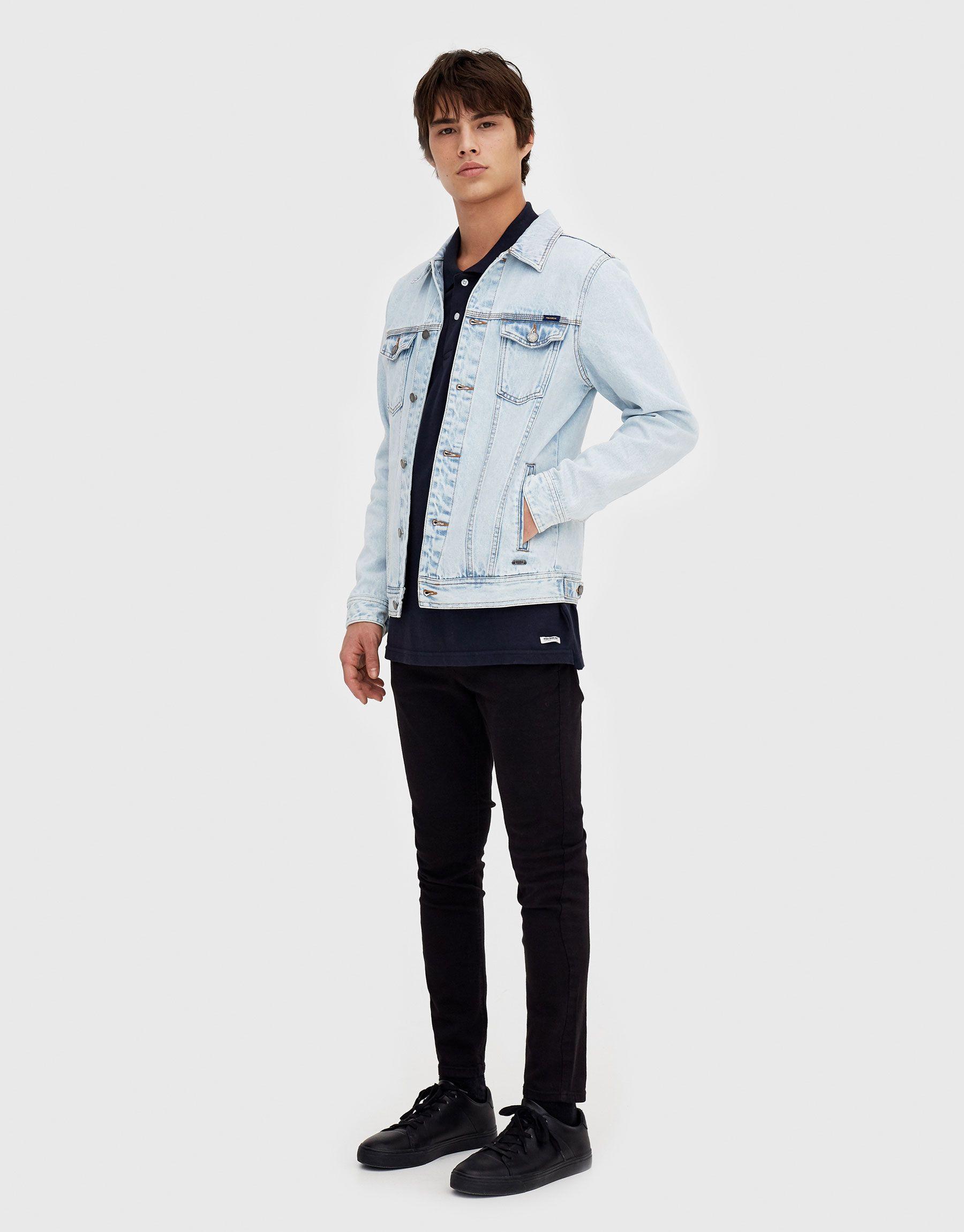 Faded Light Blue Denim Jacket Blue Denim Jacket Outfit Denim Jacket Men Jeans Outfit Men [ 2300 x 1800 Pixel ]