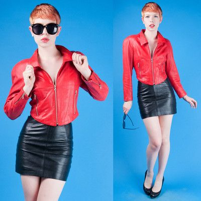 I love color-blocked leather!! 80s Vtg Red Leather Cropped North Beach Jacket Motorcycle Hoban