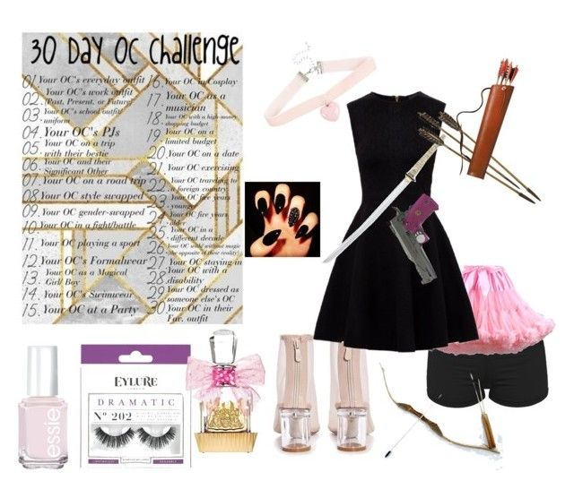 """""""day 10"""" by chocolatecandy05 ❤ liked on Polyvore featuring Boohoo, Essie, Ted Baker, Hello Kitty, eylure, Bow & Arrow and Juicy Couture"""
