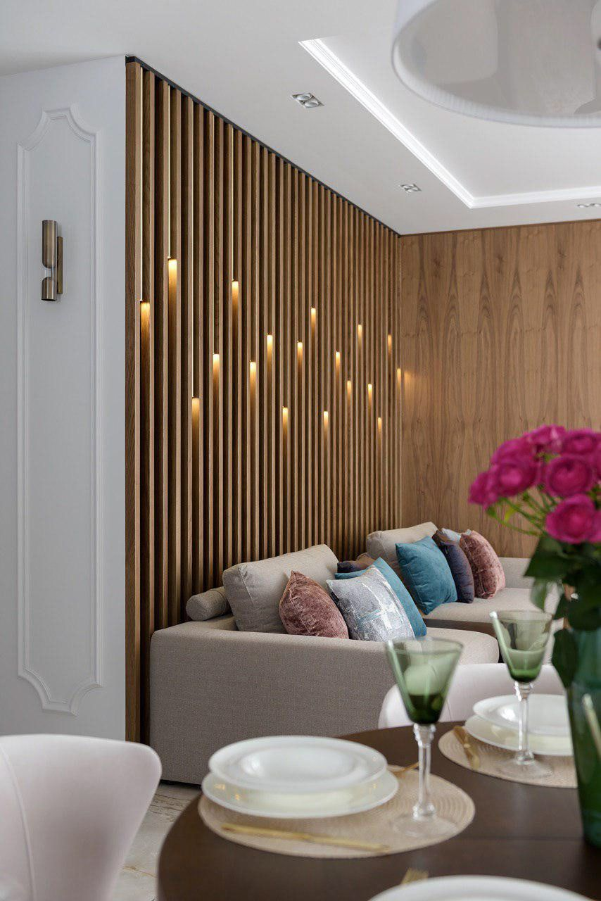 Wall Panels Wood Brass And Glass On Behance Living Room Partition Design Living Room Wall Designs Wood Panel Walls Living room wood background