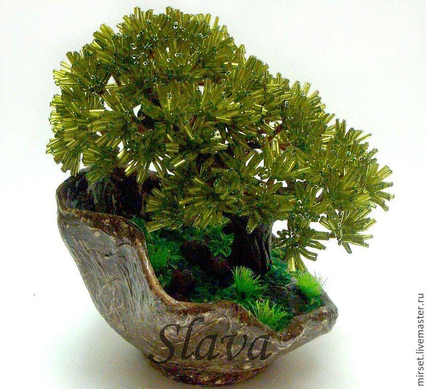 """дерево из бисера """"Бонсай в горшочке"""" - салатовый,бисер,Дерево из бисера"""