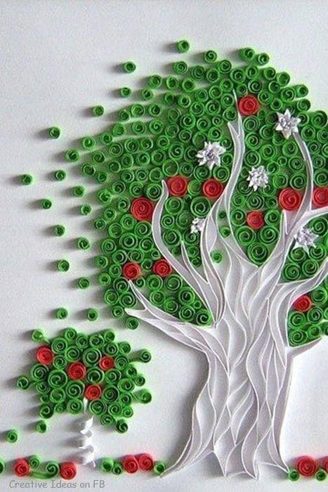 Rbol de papel con flores figuras con papel pinterest - Arbol de papel manualidades ...