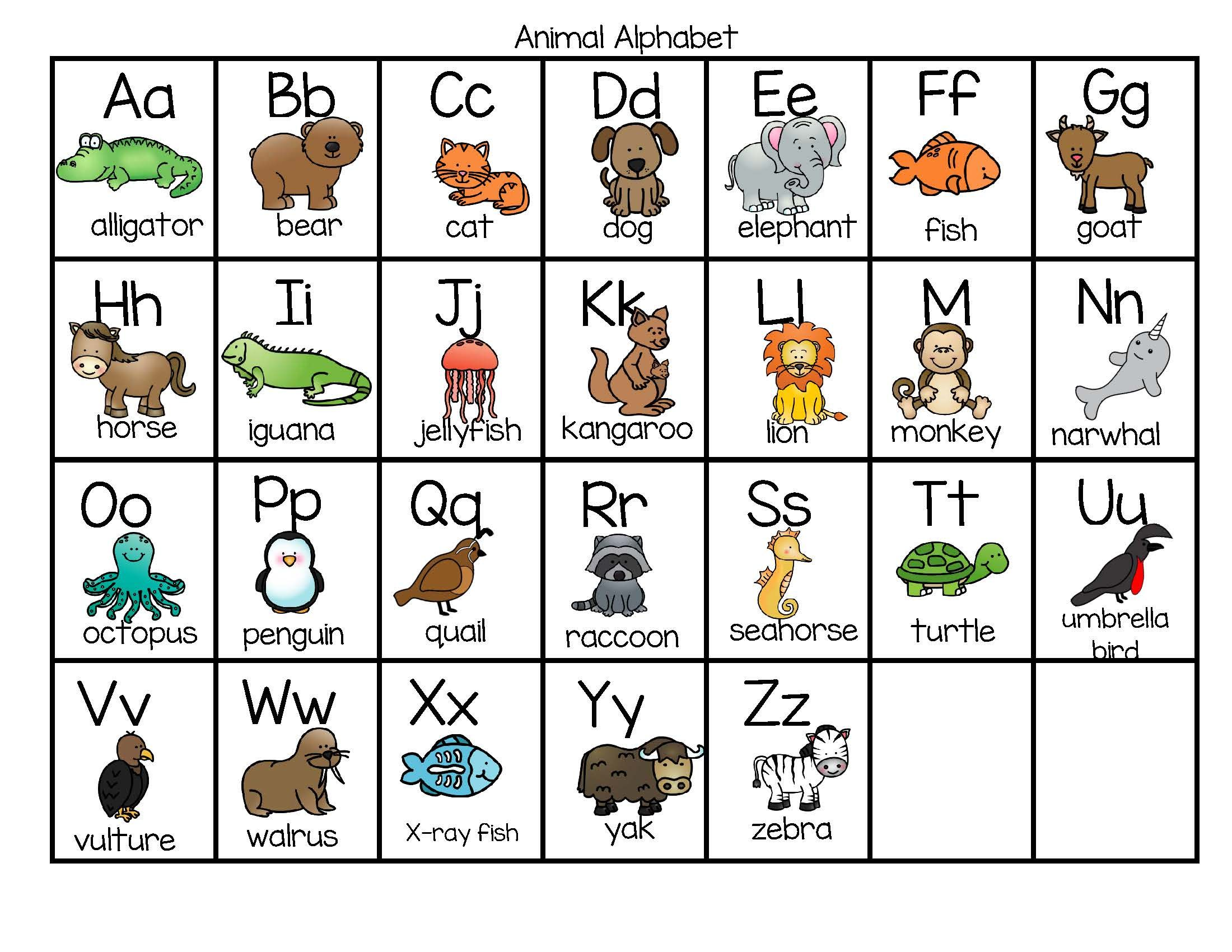 Animal Alphabet Chart In Color And B-W FREE