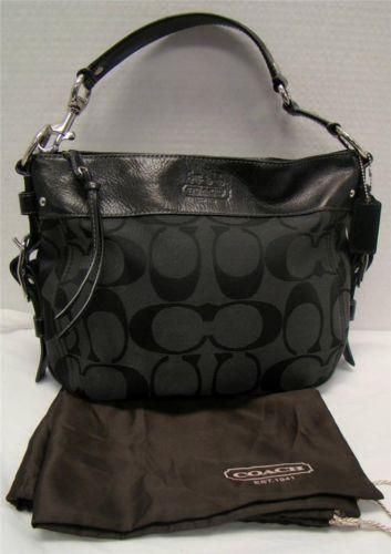 Coach 12657 Signature Black Zoe Hobo Handbag Jacquard Purse Zip Closure Bag Ebay