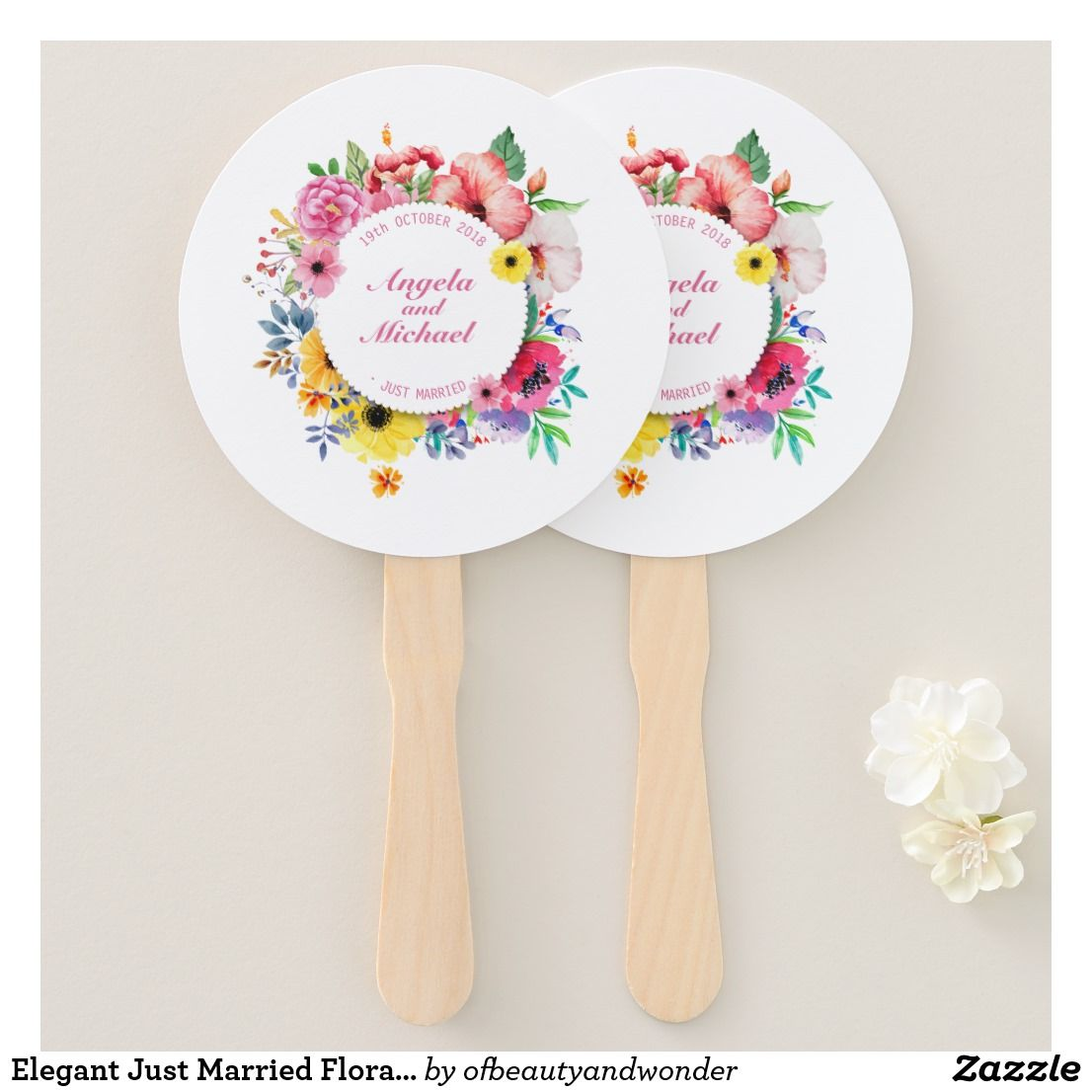 Wedding decorations trees with lights october 2018 Elegant Just Married Floral Wedding  Hand Fan  Top Personalized Mr