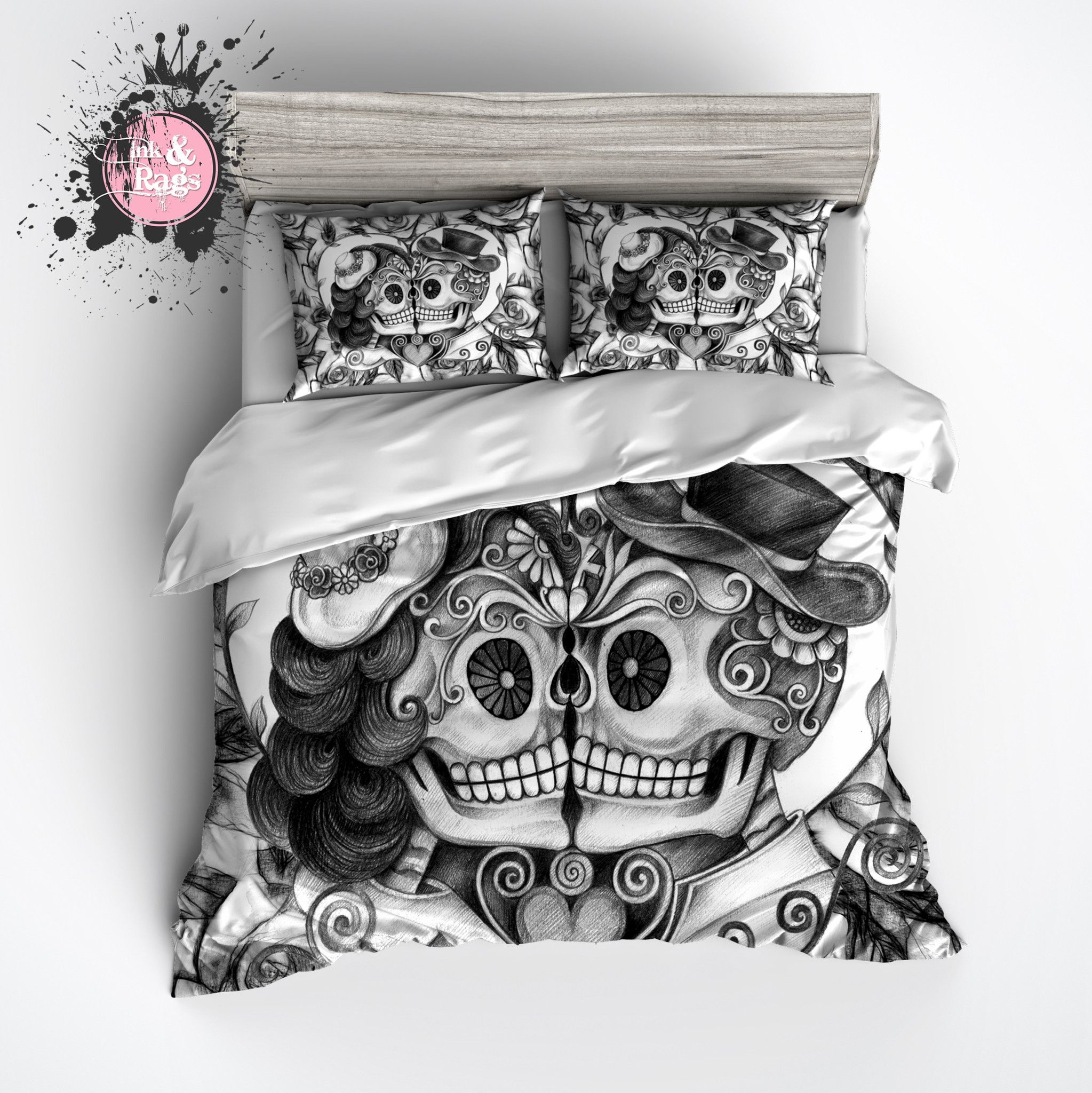 Pencil Sketch Rose Kissing Couple Sugar Skull Bedding With Images