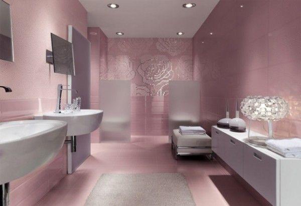 ديكور دورة مياه وردي بنك زهري فاتح Bathroom Design Luxury Bathroom Tile Designs Bathroom Design