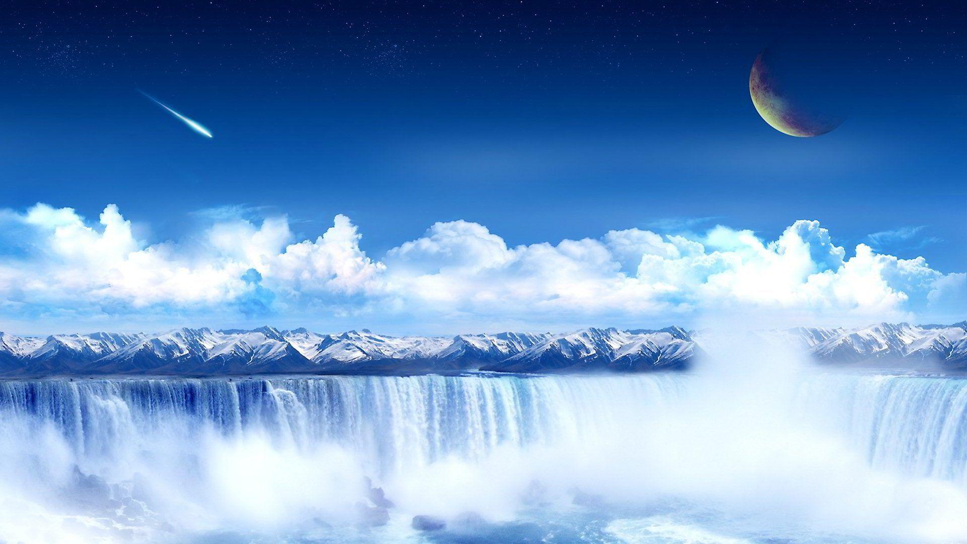 Sci Fi Landscape 0008 Waterfall Wallpaper Landscape Wallpaper Cool Landscapes