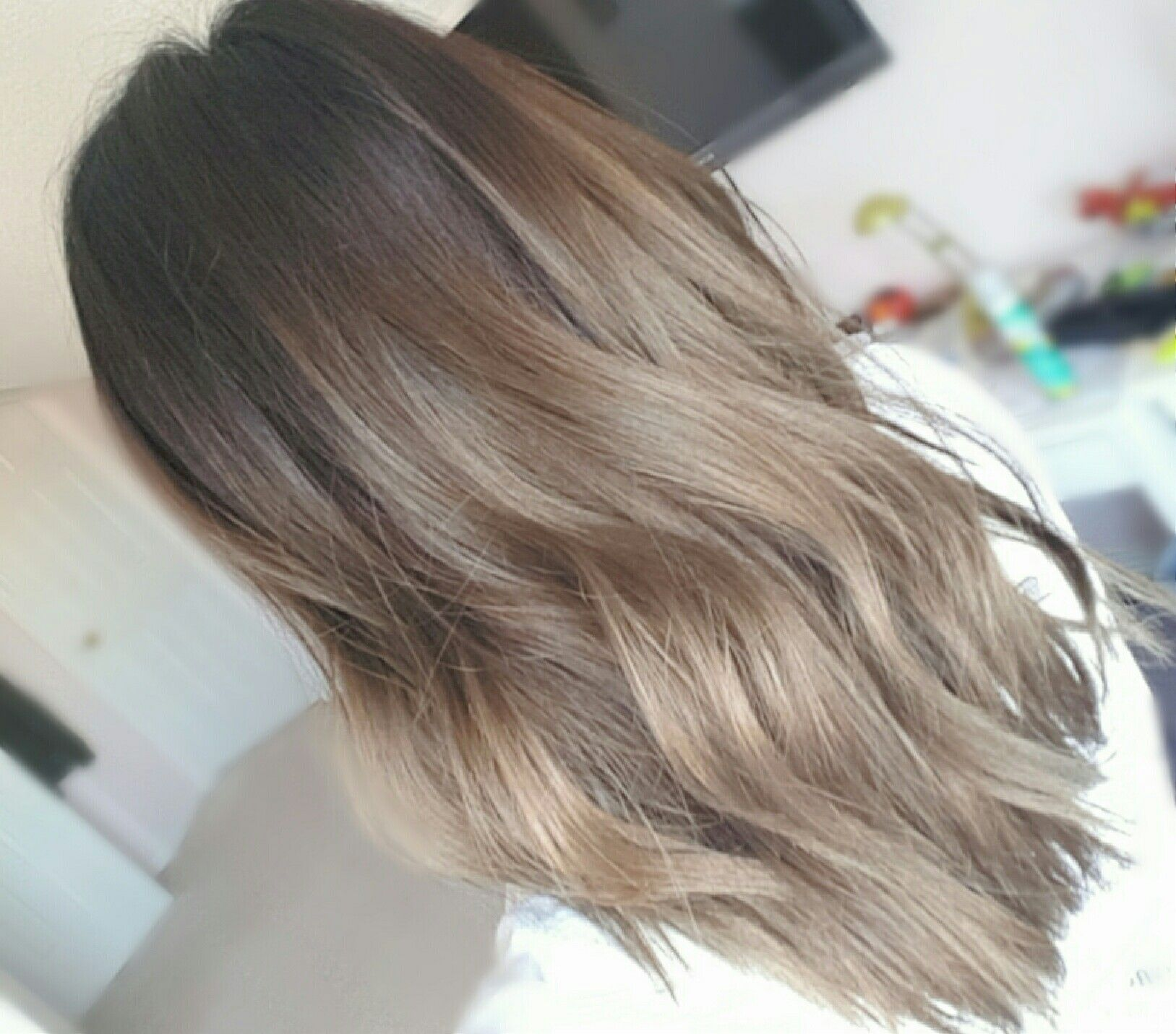 1 Month Faded After Dying My Hair Grey Faded From Grey Short Medium Length Asian Balayage Ombre Hair Color Asian Korean Hair Color Medium Hair Styles