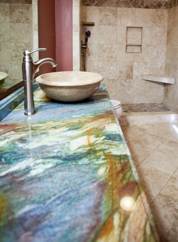 Tub to shower conversion blue louise granite countertop bathroom remodeling charlotte nc for Granite bathroom