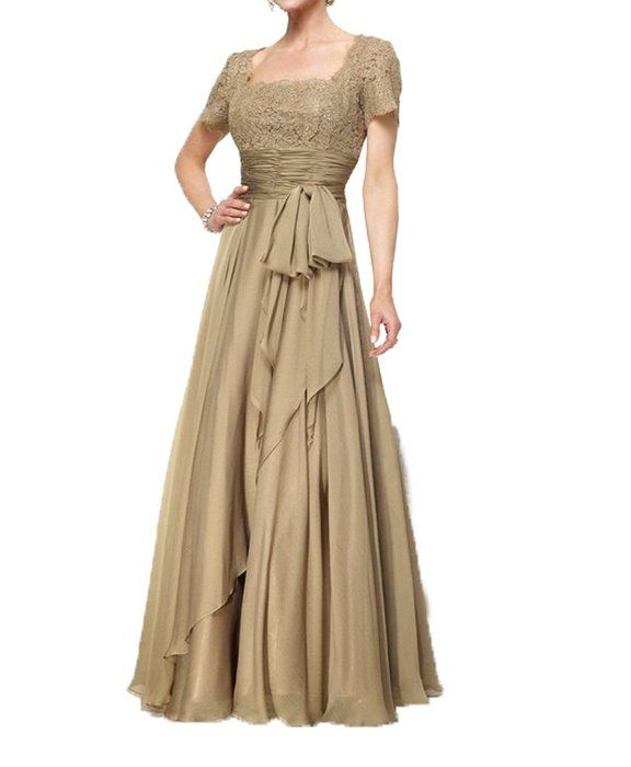 CCHAPPINESS Women's Floor Length Short Sleeve Mother Of The Bride Dresses Light Gold US 2