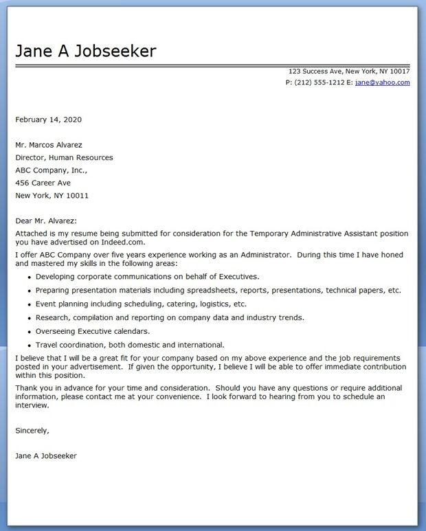 administrative assistant cover letter temp