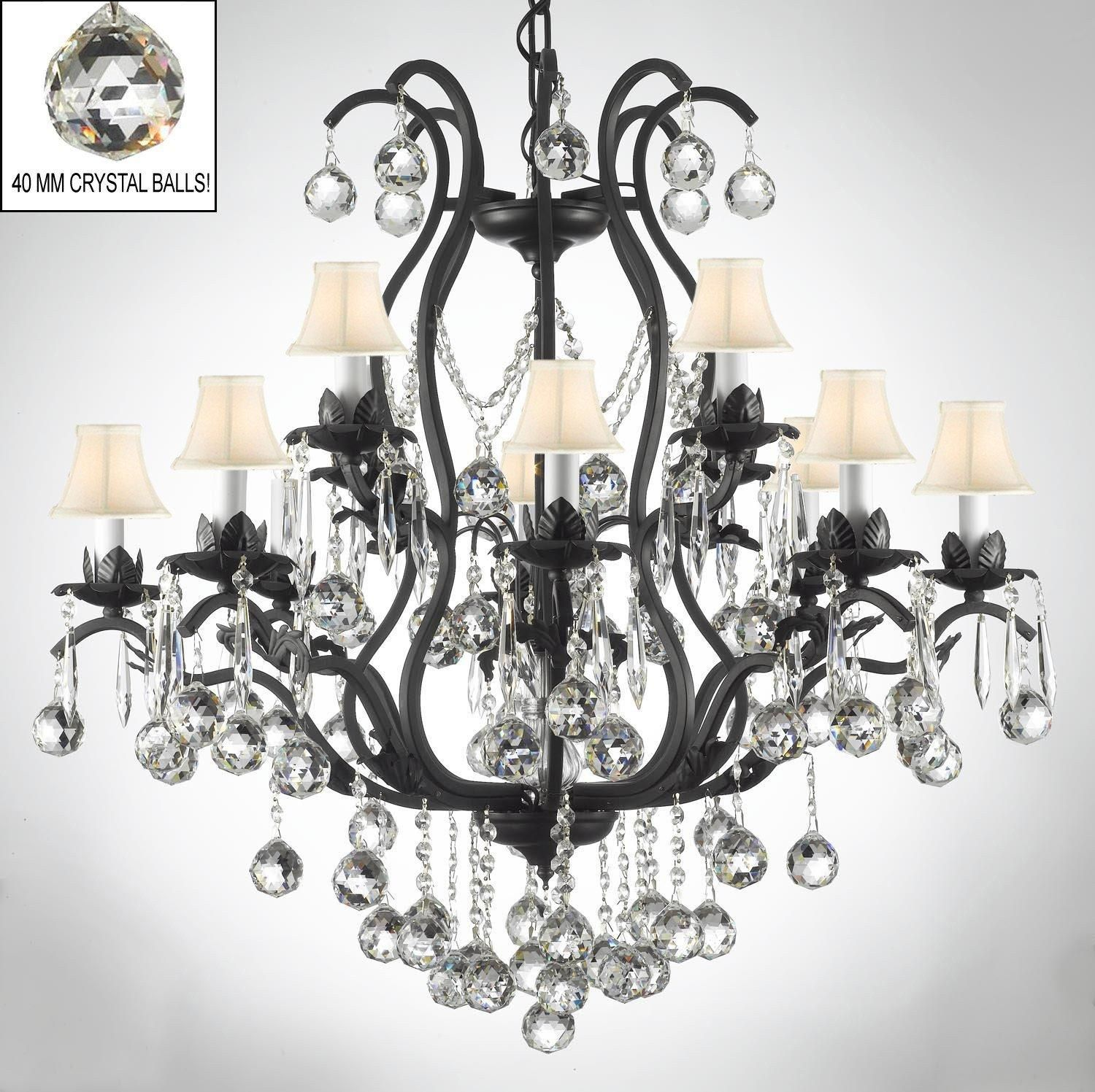 Wrought Iron Empress Chandelier Lighting s Dressed With Faceted Balls & White Shades