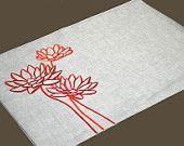 Orange Placemat, Linen Placemats set of 4, Natural Linen Orange Lotus, Embroidered Placemats, Fabric Placemat, Table Linen, Custom Placemat
