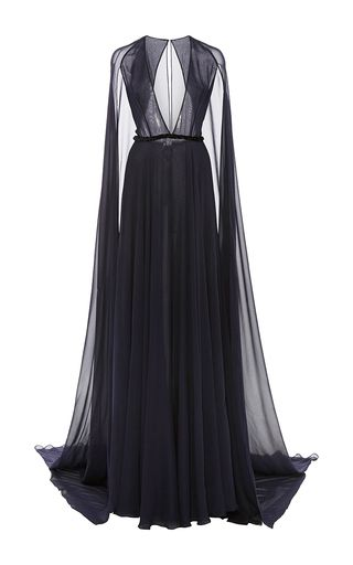 This Naeem Khan gown features a plunging V-neck and sheer floor-length cape 292a5b5db5