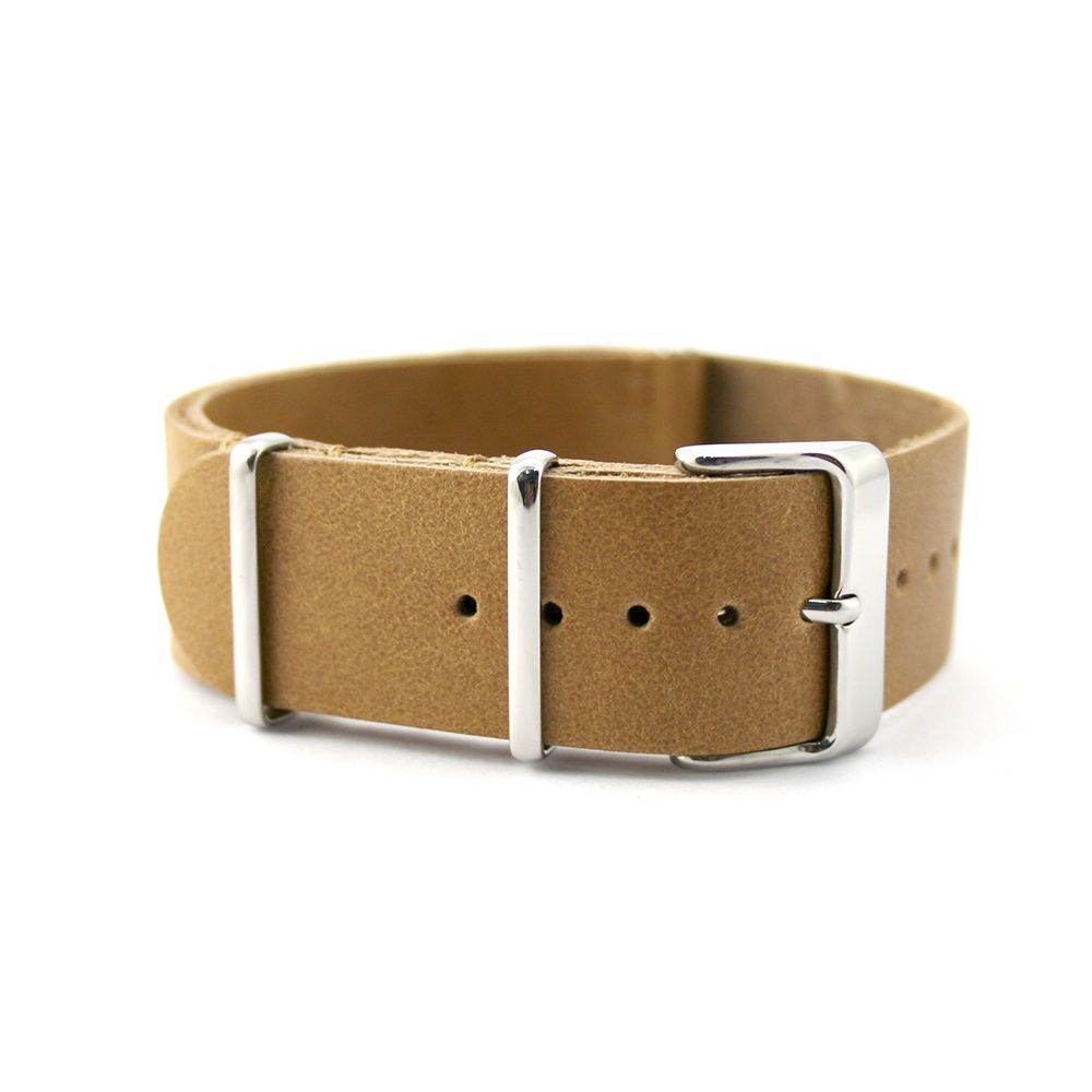Tan Brown Leather One Piece Watch Strap 20mm, 22mm (Steel / Black PVD) #Unbranded